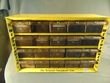 Vintage Weatherhead yellow metal storage case 20 drawers wheel bolts drill bits