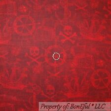 BonEful Fabric FQ Cotton Quilt VTG Red Skeleton Skull Crossbone Head Pirate Boy