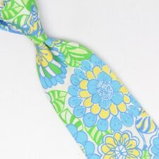 Lilly Pulitzer Garçon Coton Cravate Vert Bleu Jaune Blanc Floral Zèbre Cravate