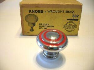 "Vintage NOS CHROME Cabinet KNOB RED Rings Circles Drawer Pull Bulls Eye 1-1/8"""