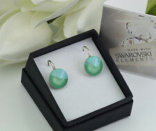 *STERLING SILVER* - RIVOLI - MINT GREEN Earrings made with SWAROVSKI Crystals