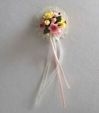 DOLLS HOUSE FLOWERS - MINIATURE DELUXE ROUND BRIDES BOUQUET