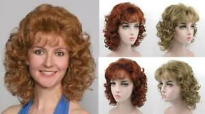 1980S 70S WOMENS MEDIUM SHOULDER-LENGTH LAYERED BODY WAVE CURLS CURLY WIG AMBER