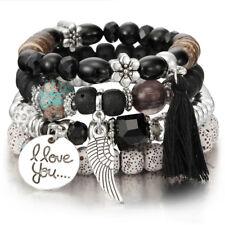 Fashion Girls Crystal Bead Bracelets Jewelry Short Tassel Charms Wristband HD
