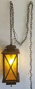 Vintage MCM Mid Century Hanging Wood Brass Glass Light Fixture Lamp Pull Switch