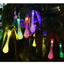 Solar 20ft 30 LED Outdoor Party Decor String Lights Water Drop Fairy Waterproof