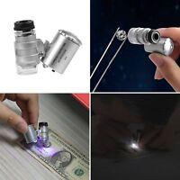 60x Magnifier Magnifying Eye Glass Loupe Jeweler Watch Repair Kit LED Light