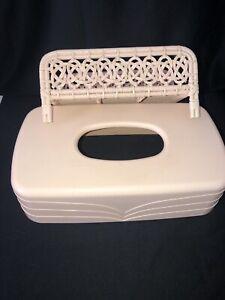 VintagePink Tissue Box Holder Cover Plastic & Bamboo Hand Towel Holder