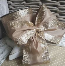 Wired Champagne Gold Glitter Band Christmas Ribbon. Cake Xmas Tree Bow Wedding