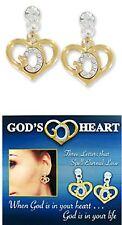 God's Heart Stud Earrings - Spells GOD Religious Jewelry NEW