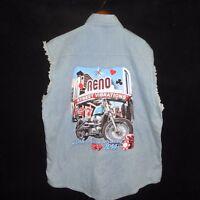 2014 XL Street Vibrations Reno Shredded Sleeveless Biker Denim Motorcycle Shirt