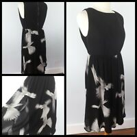 Mint Velvet Size 12 Black White Grey Sleeveless Dove Print Dress Floaty Artist