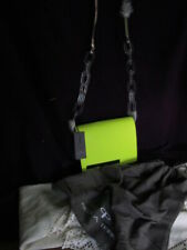 neon lime 100% leather Pied a Terre flap shoulder BAG handbag perspex chain bnwt