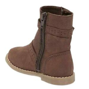 Old Navy Toddler Girl Faux Suede Low Rise Zip-Up Buckle Boots Tan, Gray or Brown