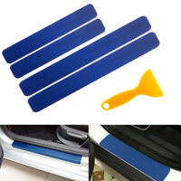 Scratch Durable  Blue 3D Carbon Fiber Car Door Sill Pedal Protect Stickers