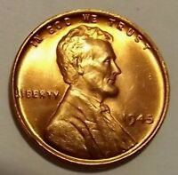 1945 P Lincoln Wheat 1c CHOICE BU/RD's from OBW roll.99 ships