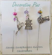 Decorative Pins  - I Love Quilting  Sewing Quilters Pin Cushion Thimble Scissors