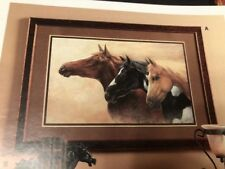 * Home Interiors & Gifts Majestic Mustang Print Solid Wood Frame. Vintage