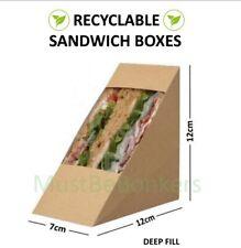 200 Kraft Cardboard Sandwich Holder Wedges ~ Cafe Takeaway Packs Deep Fill Large
