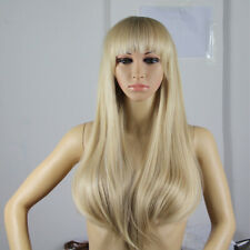 65CM&38CM Yellow Mixed Long Straight&Short Wavy Wig Synthetic Lady Wig Party