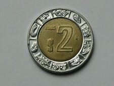 Mexico 2005 $2 PESOS Bimetallic Coin AU+ with Toned-Lustre & Eagle Coat of Arms