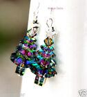 Christmas Tree earrings Vitrail Swarovski element Star 925 Silver hooks Handmade