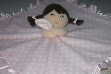 CARTER'S PINK WHITE POLKA DOT PIGTAILS GIRL RATTLE BABY SECURITY LOVEY BLANKET
