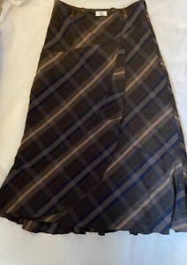 Klass Collection Brown Blue Check Plaid Gypsy Boho Drape Midi Long Skirt UK 12