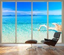 "Wall26 - Wall Mural - Tropical Beach Seen Through Sliding Glass Doors - 66""x96"""