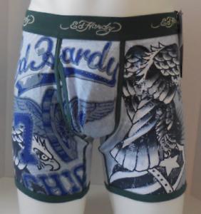Ed Hardy Boxer Slip Homme Petit Aigle Motif Tatouage Bleu Canard