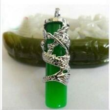 Beautiful Tibet Silver Dragon Green Jade Pillar Pendant Necklace Amulet