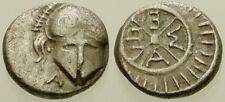 032. Greek Silver Coin. Thrace. Ar Diobol. Helmet / Wheel. aVf