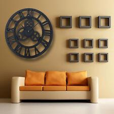 LARGE BIG ROUND OUTDOOR GARDEN SKELETON WALL CLOCK ROMAN NUMERALS METAL 40CM DIY