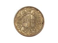 Moneda 1 pts, Franco, 1944
