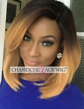 Short Bob Human Hair Wigs Brazilian Remy Ombre Blonde Silk Top Wigs Deep Part 14