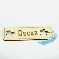 Personalised Name Wooden Bookmark Laser Engraved Gift. Star Design