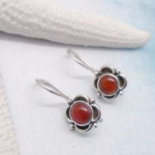 Karneol Blüte Blume orange elegant Ohrringe, Ohrhänger, 925 Sterling Silber neu