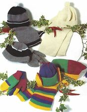 BOY GIRLS CHILDRENS GLOVES HAT SCARF KNITTING PATTERN AGES 4 TO 14 YEARS (1286)