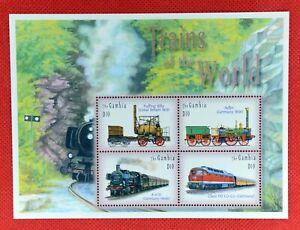 ZAYIX - 2002 Gambia 2690 MNH - Railroads Trains Steam Locomotives Souvenir Sheet