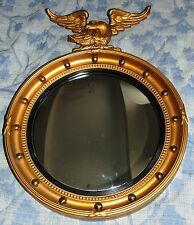 Antique Gilt Wood Convex Mirror with Eagle Pediment (91)