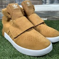 UK10.5 Adidas Tubular Invader High Top Strap Sand Suede Trainers - EU45 - NEW