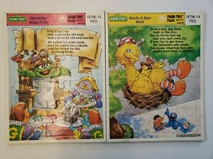 Vintage 1989 Sesame Street Frame-Tray Puzzle, Grouchy King Cole, Rock-A-Bye Bird