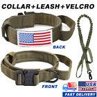 USA Flag Dog Tactical Collar Handle Molle Training Leash Military K9 & LOOP M-XL
