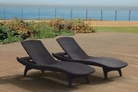 Keter Chaise Lounge 2 Pack Grey Rattan Durable UV Outdoor Patio Furniture Pool