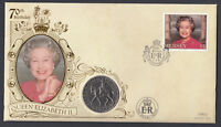 1996 Jersey £5 stamp & 1977 coin on 70th Birthday QEII QE2 Royal Royalty Cover