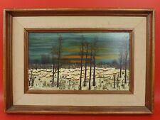Belle Huile / Toile, Peinture, Naïf. Paysage sous la Neige. Signée & Datée 1978