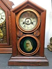Antique 1870s Ingraham Chime Wood Mantel Clock With Old Picture On Door