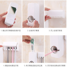 1pcs Automatic Toothpaste Dispenser + 5 Toothbrush Holder Set Wall Mount Stand