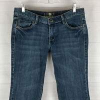 NYC Platinum womens size 8 stretch med wash low rise flare flap pocket jeans EUC