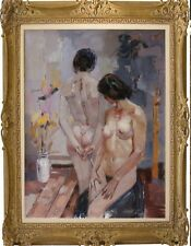76x101cm Quality art Repro oil painting on canvas Impressionism nudes with vase